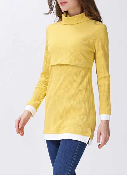 Long Sleeved Roll Neck Long Line Yellow Top