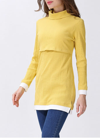 Long Sleeved Roll Neck Long Line Autumn Yellow Top