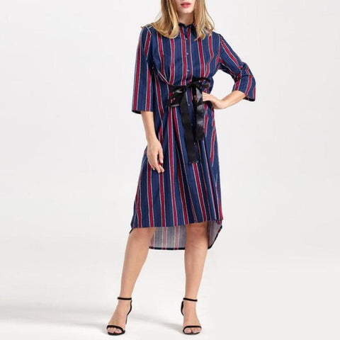 Navy Stripe Tie Waist Dipped Hem Shirt Dress
