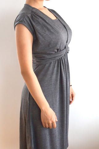 Short Sleeved Smart Maternity & Breastfeeding Nursing Dress - Charcoal