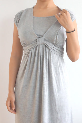 Short Sleeved Smart Maternity & Breastfeeding Nursing Dress - Grey