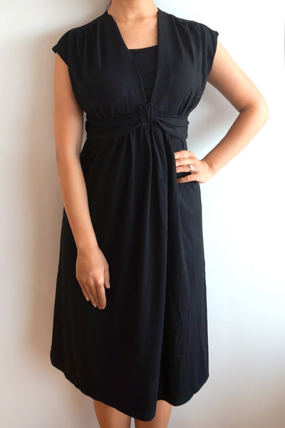 Short Sleeved Smart Maternity & Breastfeeding Nursing Dress - Black