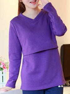 Cosy Ski V Neck Maternity Nursing Breastfeeding Top Purple, Navy, or Charcoal Grey
