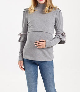 Soft Fine Cotton Sliver Grey Ribbon Detail Maternity to Breastfeeding Roll Neck