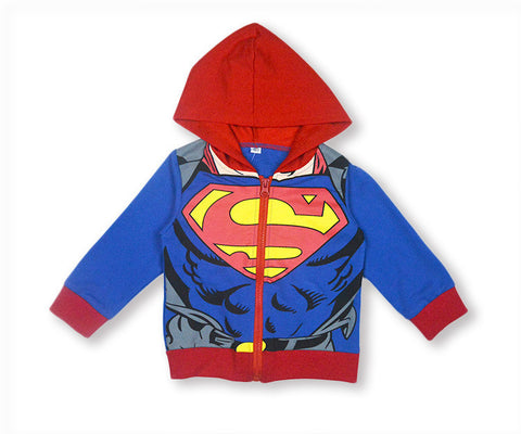 Kid Zip Up Hoodie Jacket: Superman Suit