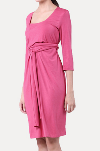 Flattering Wrap Around Maternity Breastfeeding Nursing Dress - Pink