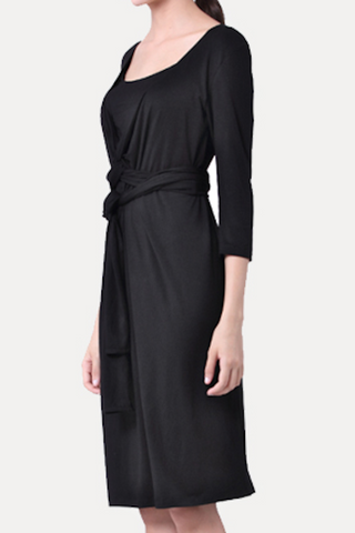 Maternity Breastfeeding Nursing Dress: Flattering Wrap Around - Black