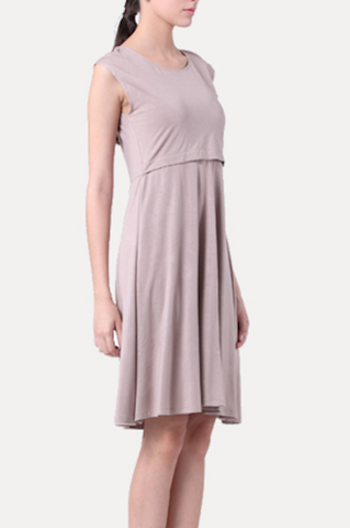 Maternity Breastfeeding Nursing Dress - Simple Elegance - Sand