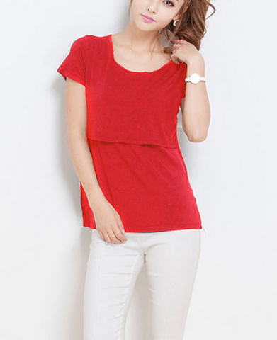 Cotton Maternity Breastfeeding Nursing T-Shirt - Red