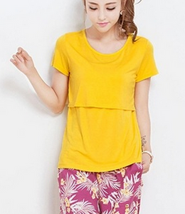 Cotton Maternity Breastfeeding Nursing T-Shirt - Yellow