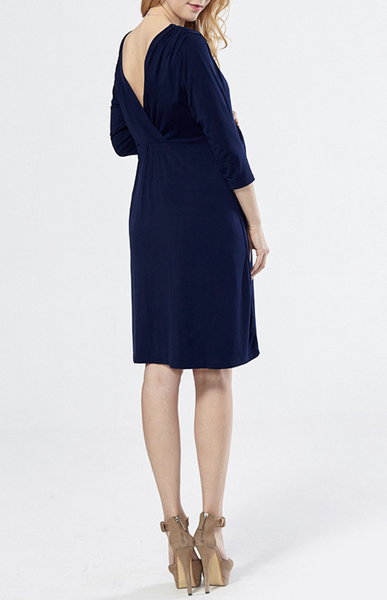 Deep V Neck Dress: Navy
