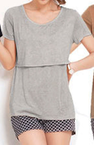 Cotton Maternity Breastfeeding Nursing T-Shirt - Light Grey