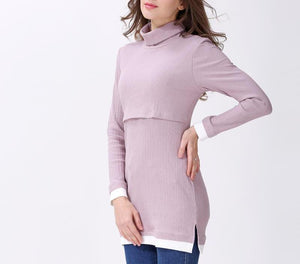 Long Sleeved Roll Neck Long Line Mauve Top
