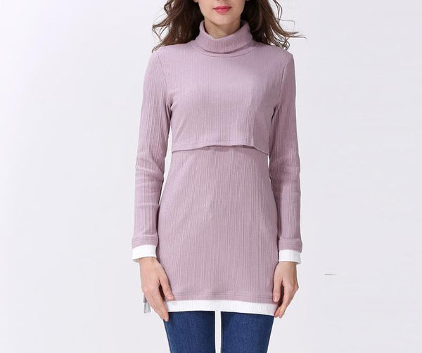 Long Sleeved Roll Neck Long Line Autumn Mauve Top
