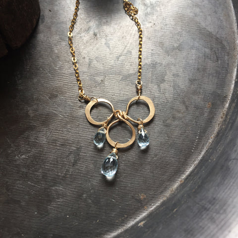 Blue Topaz Trinity Necklace