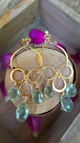 Moss Aquamarine Trinity Loop Earrings