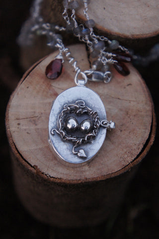 Nest Locket with Tiny Heart