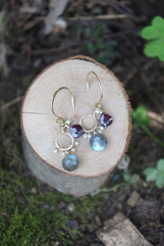 Labradorite Double Gem Earrings