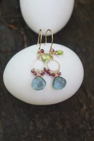 Moss Aquamarine Double Gem Earrings