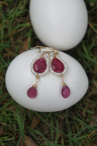 Ruby Pearl Frame Earrings