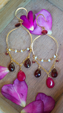 Ruby,Pearl and Garnet Taj Earrings