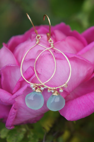 Chalcedony and Pearl Hammered Hoops