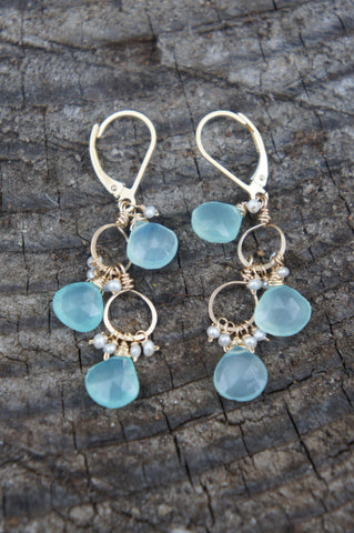 Chalcedony Sea Drop Earrings