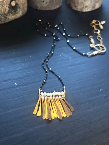 Gold Fringe and Pearl Necklace