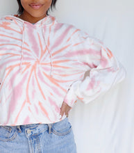 Load image into Gallery viewer, WHITE-CORAL TIE DYE Cropped hoodie