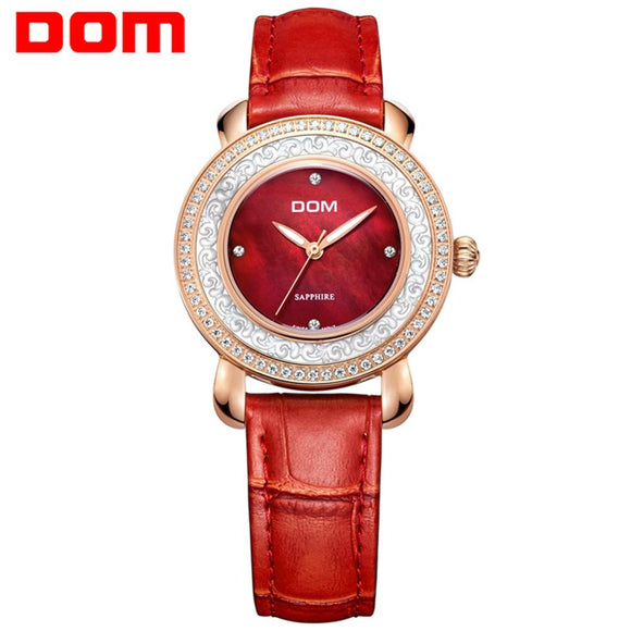 DOM Ladies Watch With Genuine Leather Straps