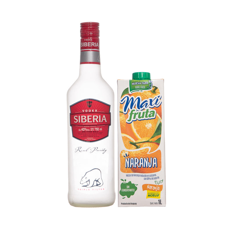 Vodka Siberia 750 ml + Jugo Max Fruta 1 L