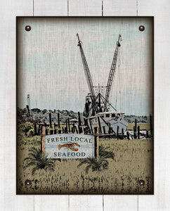 Boat & Local Seafood Sign (Lobster) On 100% Natural Linen