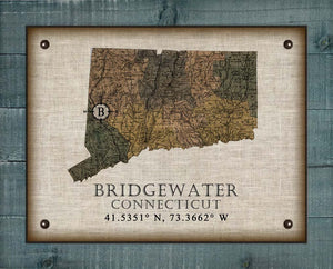 Bridgewater Connecticut Vintage Design On 100% Natural Linen
