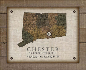 Chester Connecticut Vintage Design On 100% Natural Linen