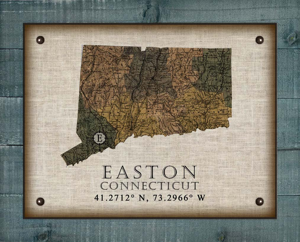 Easton Connecticut Vintage Design On 100% Natural Linen