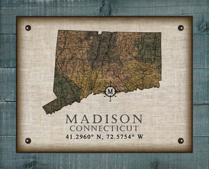 Madison Connecticut Vintage Design On 100% Natural Linen