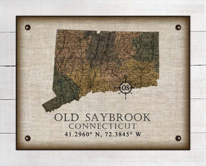 Old Saybrook Connecticut Vintage Design On 100% Natural Linen