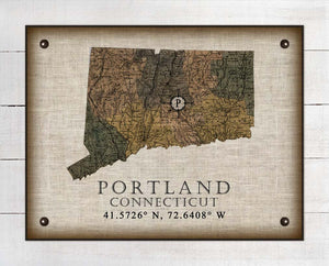Portland Connecticut Vintage Design On 100% Natural Linen