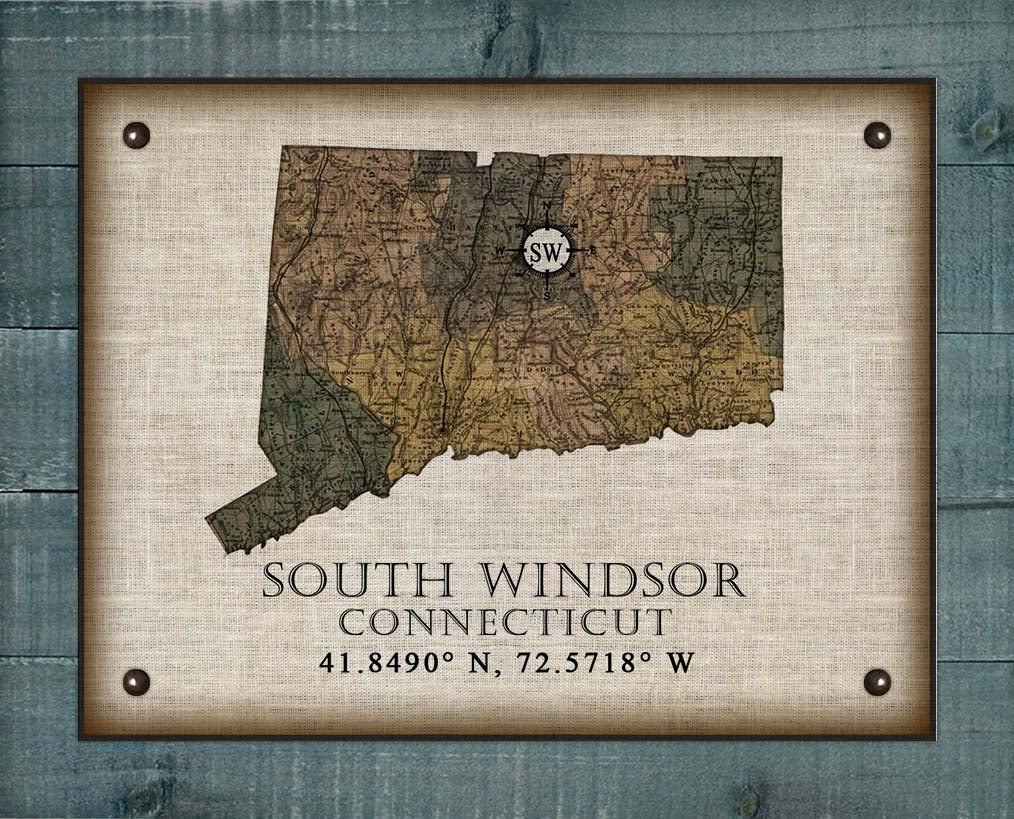 South Windsor Connecticut Vintage Design On 100% Natural Linen