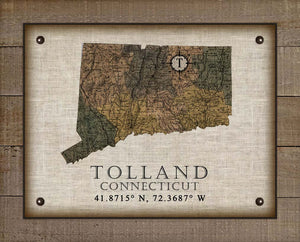 Tolland Connecticut Vintage Design On 100% Natural Linen