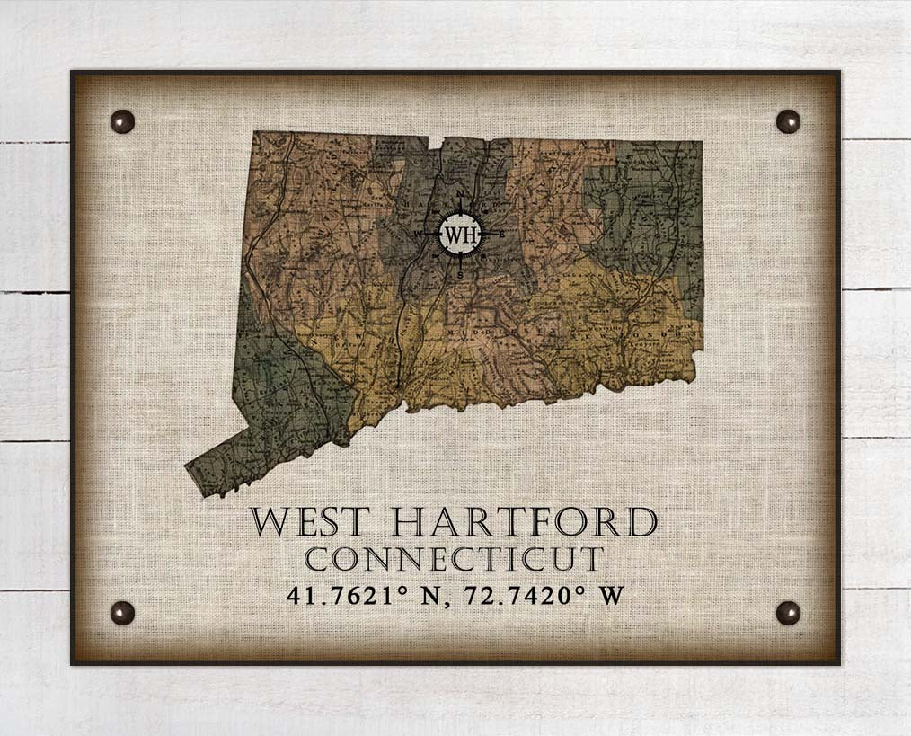 West Hartford Connecticut Vintage Design On 100% Natural Linen