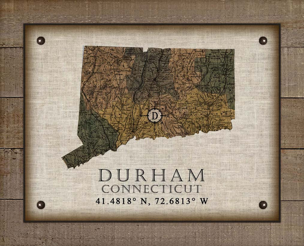 Durham Connecticut Vintage Design On 100% Natural Linen