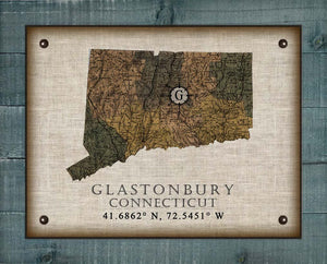 Glastonbury Connecticut Vintage Design On 100% Natural Linen