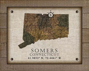 Somers Connecticut Vintage Design On 100% Natural Linen