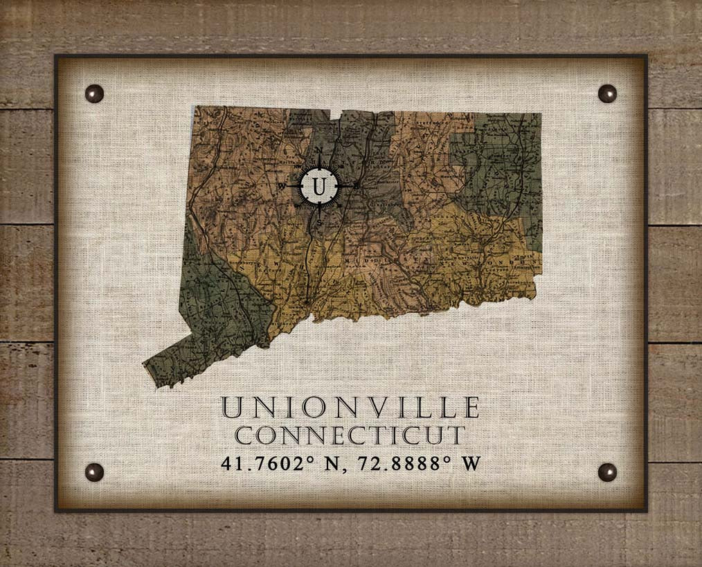 Unionville Connecticut Vintage Design On 100% Natural Linen