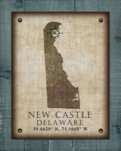 New Castle Delaware Vintage Design - On 100% Natural Linen
