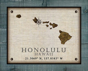 Honolulu Hawaii Vintage Design - On 100% Natural Linen