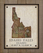 Load image into Gallery viewer, Idaho Falls Idaho Vintage Design - On 100% Natural Linen