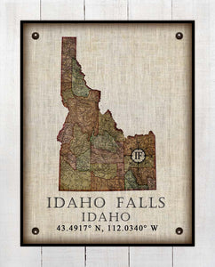 Idaho Falls Idaho Vintage Design - On 100% Natural Linen