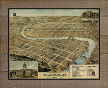 Load image into Gallery viewer, 1871 Frankfort Kentucky Birds Eay Map - On 100% Natural Linen